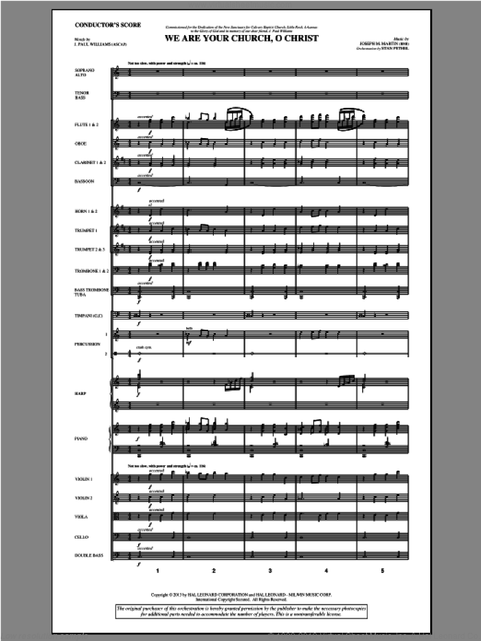We Are Your Church, O Christ (COMPLETE) sheet music for orchestra/band by Joseph Martin, J. Paul Williams and Joseph M. Martin, intermediate skill level