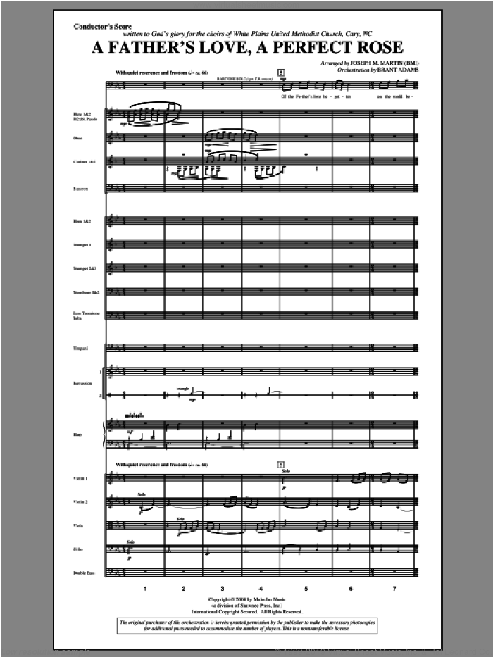 A Father's Love, A Perfect Rose (from Festival Of Carols) (COMPLETE) sheet music for orchestra/band by Joseph Martin and Joseph M. Martin, intermediate skill level