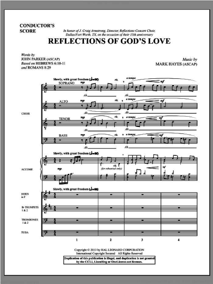 Reflections of God's Love (COMPLETE) sheet music for orchestra/band (Brass) by Mark Hayes and John Parker, intermediate skill level