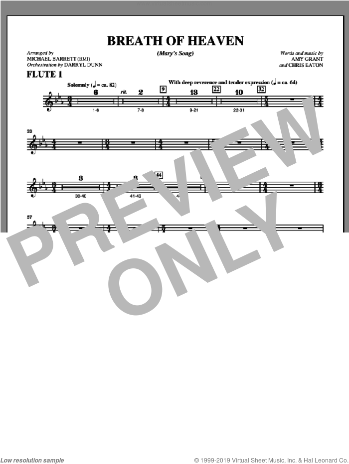 Breath Of Heaven (from 'All Is Well') sheet music for orchestra/band (flute 1) by Amy Grant and Michael Barrett, intermediate skill level