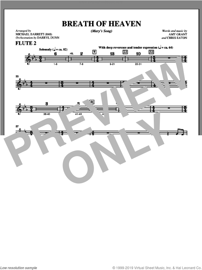 Breath Of Heaven (from 'All Is Well') sheet music for orchestra/band (flute 2) by Amy Grant and Michael Barrett, intermediate skill level