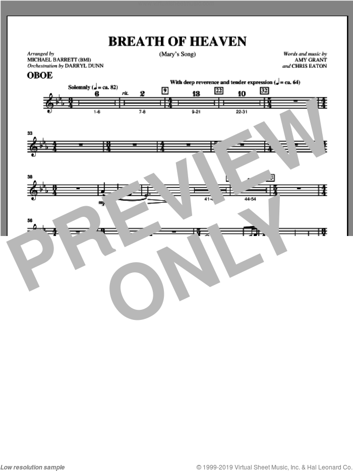 Breath Of Heaven (from 'All Is Well') sheet music for orchestra/band (oboe) by Amy Grant and Michael Barrett, intermediate