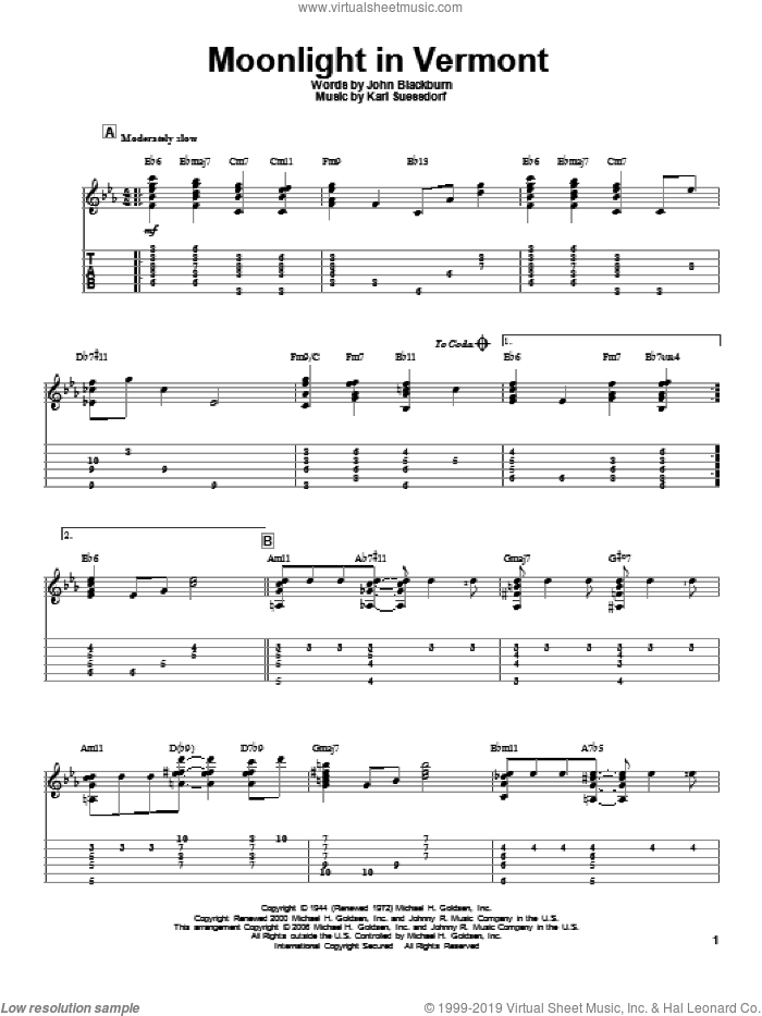 Moonlight In Vermont sheet music for guitar solo by Karl Suessdorf. Score Image Preview.