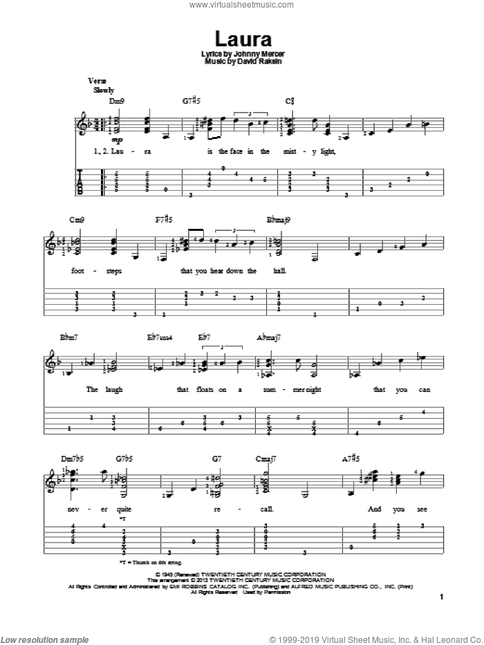 Laura sheet music for guitar solo by David Raksin and Johnny Mercer. Score Image Preview.