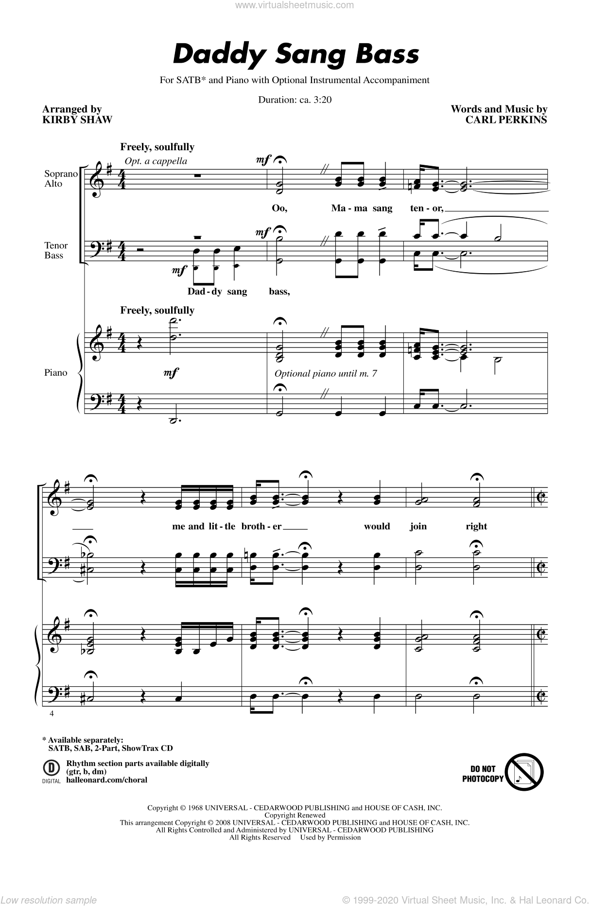 Daddy Sang Bass sheet music for choir and piano (SATB) by Kirby Shaw and Carl Perkins. Score Image Preview.