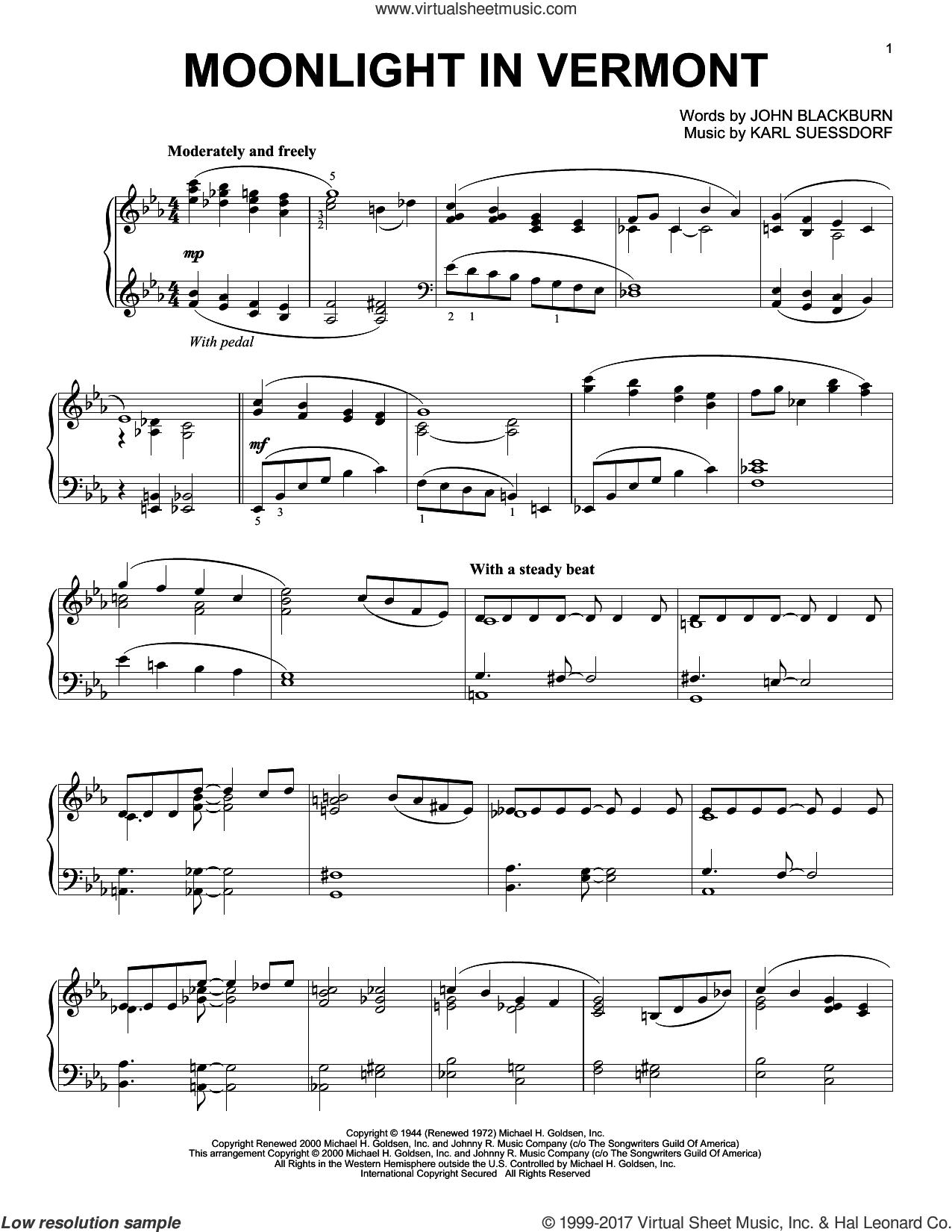Moonlight In Vermont, (intermediate) sheet music for piano solo by Karl Suessdorf and John Blackburn, intermediate skill level