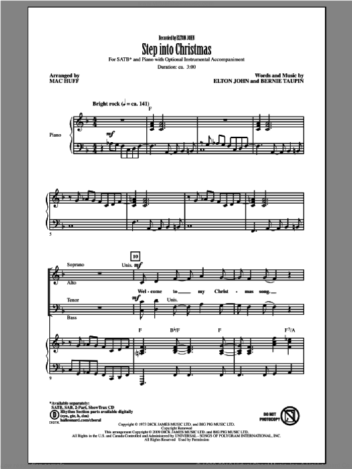 Step Into Christmas sheet music for choir (SATB) by Mac Huff and Elton John. Score Image Preview.