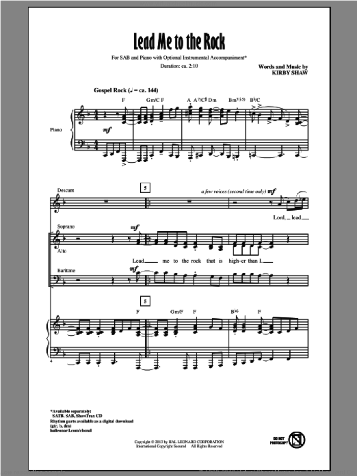 Lead Me To The Rock sheet music for choir and piano (SAB) by Kirby Shaw. Score Image Preview.
