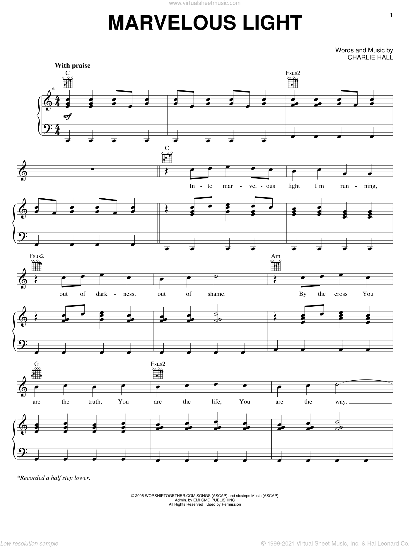 Marvelous Light sheet music for voice, piano or guitar by Charlie Hall. Score Image Preview.