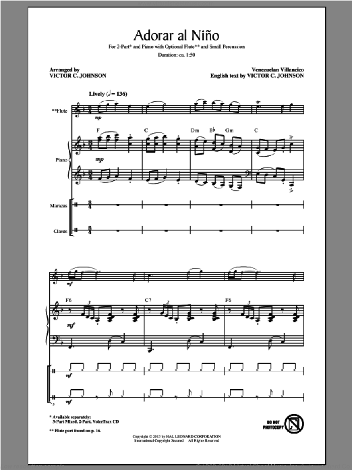 Adorar Al Nino (Come Adore The Baby) sheet music for choir (duets) by Victor Johnson. Score Image Preview.