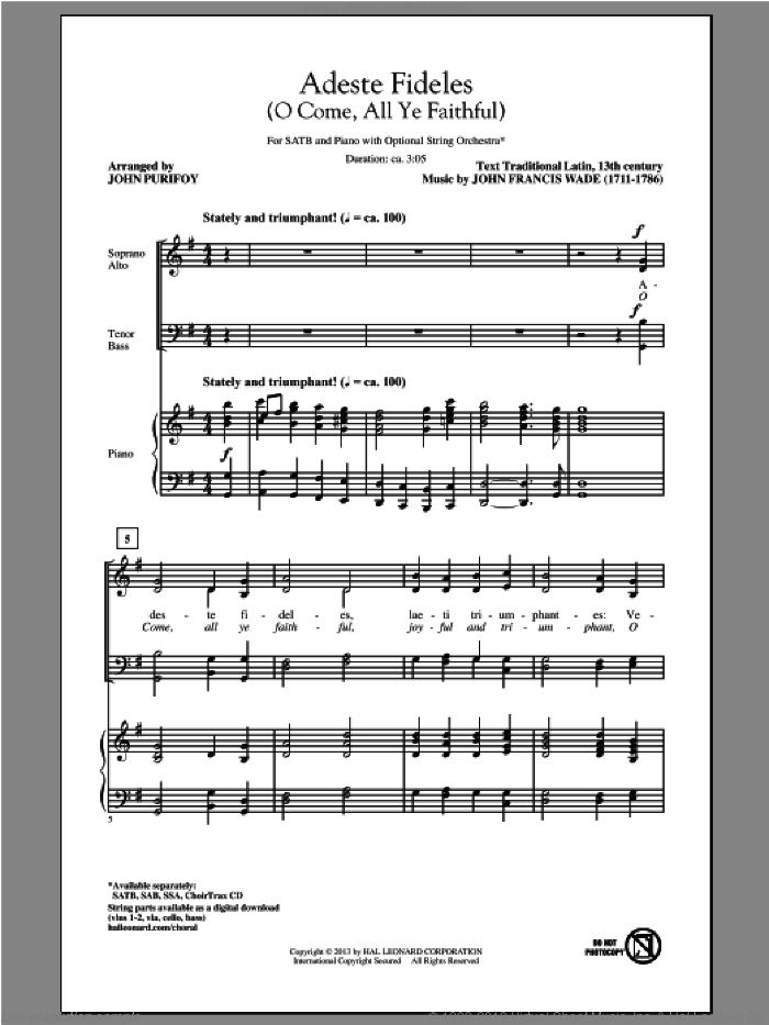 O Come, All Ye Faithful (Adeste Fideles) sheet music for choir and piano (SATB) by John Purifoy