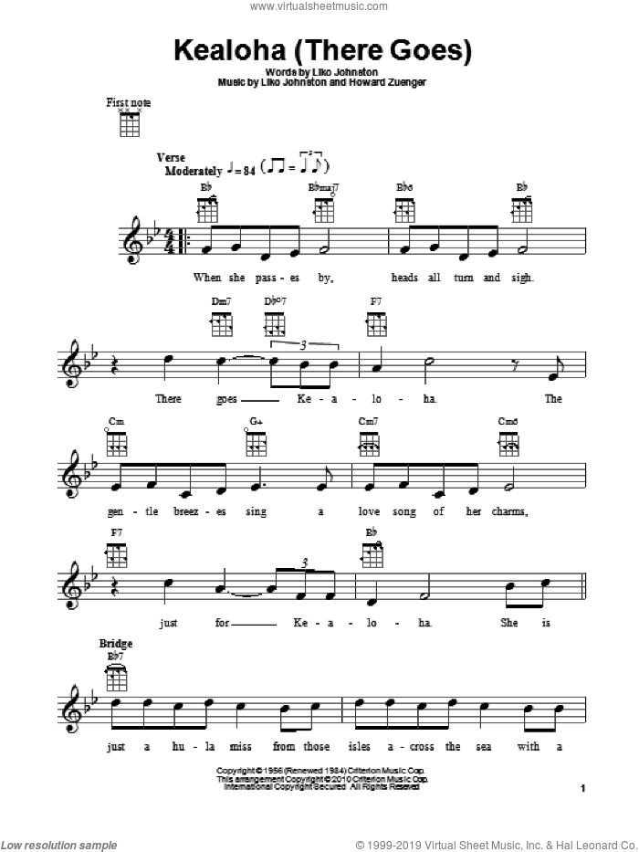 Kealoha (There Goes) sheet music for ukulele by Howard Zuenger and Liko Johnston, intermediate. Score Image Preview.