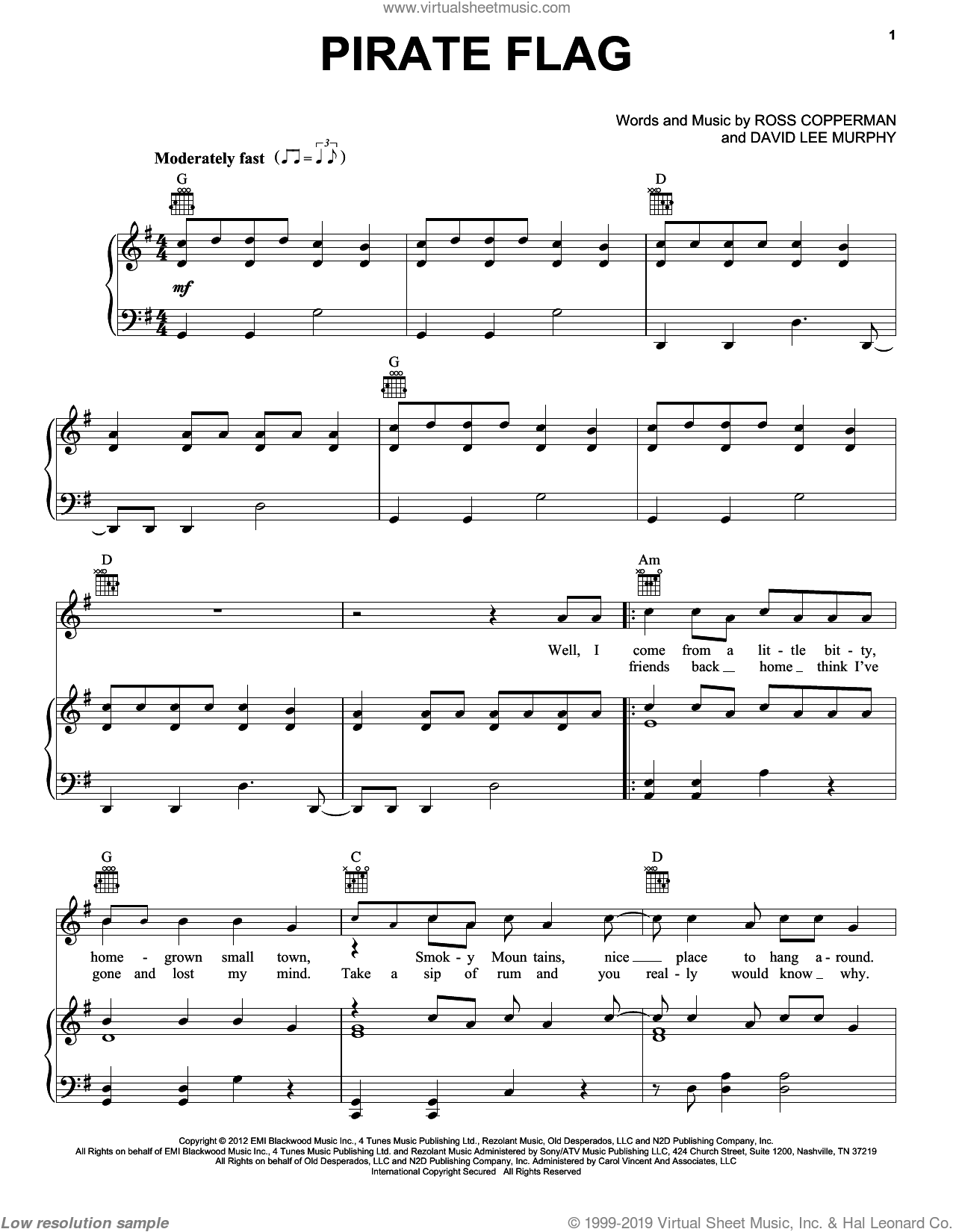 Pirate Flag sheet music for voice and piano by Kenny Chesney. Score Image Preview.