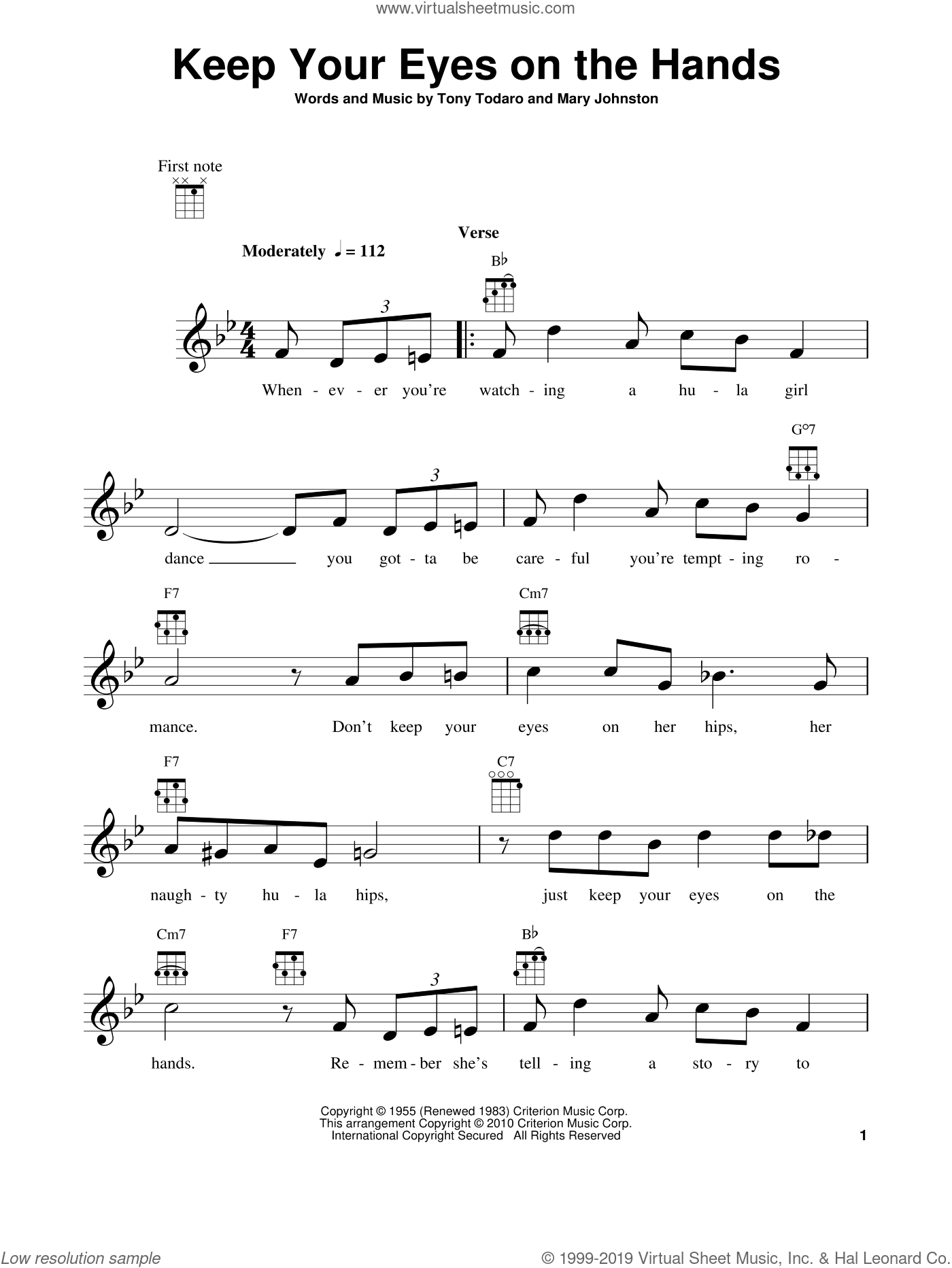 Keep Your Eyes On The Hands sheet music for ukulele by Mary Johnston and Tony Todaro, intermediate skill level