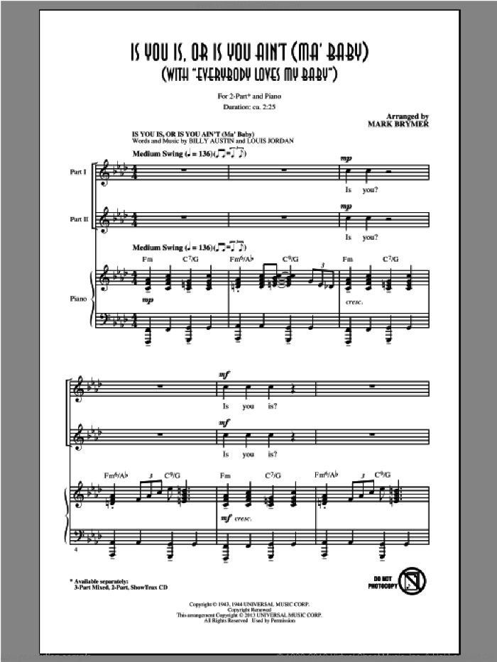 Everybody Loves My Baby (But My Baby Don't Love Nobody But Me) sheet music for choir (duets) by Mark Brymer. Score Image Preview.