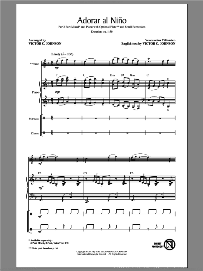 Adorar Al Nino (Come Adore The Baby) sheet music for choir (chamber ensemble) by Victor Johnson. Score Image Preview.