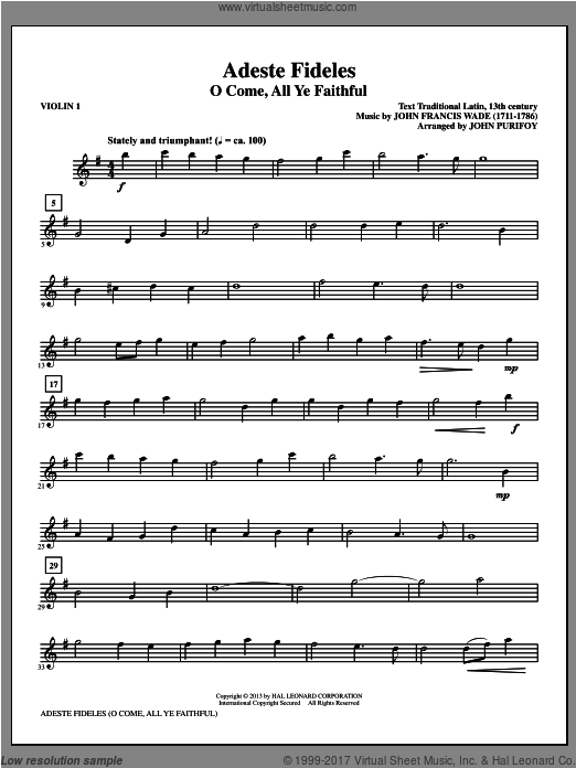Adeste Fideles (COMPLETE) sheet music for orchestra by John Purifoy