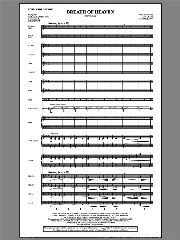 Breath Of Heaven (from All Is Well) (COMPLETE) sheet music for orchestra/band by Amy Grant and Michael Barrett, intermediate skill level