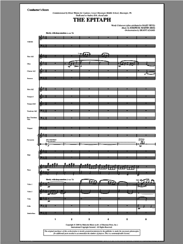 The Epitaph (COMPLETE) sheet music for orchestra/band by Joseph Martin and Joseph M. Martin, intermediate