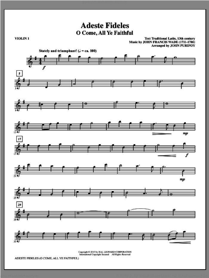 Adeste Fideles (complete set of parts) sheet music for orchestra/band (Strings) by John Purifoy, intermediate. Score Image Preview.
