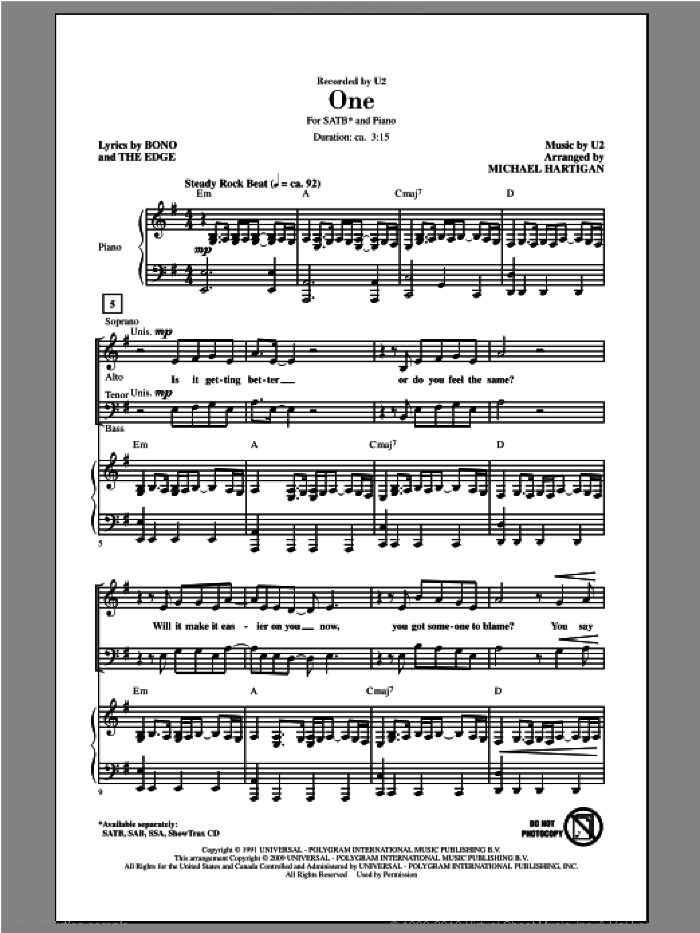 One sheet music for choir (SATB) by Michael Hartigan and U2. Score Image Preview.