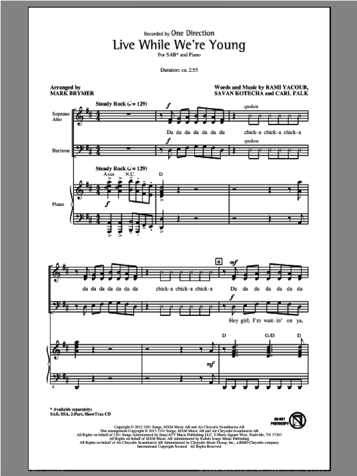 Live While We're Young sheet music for choir and piano (SAB) by Mark Brymer