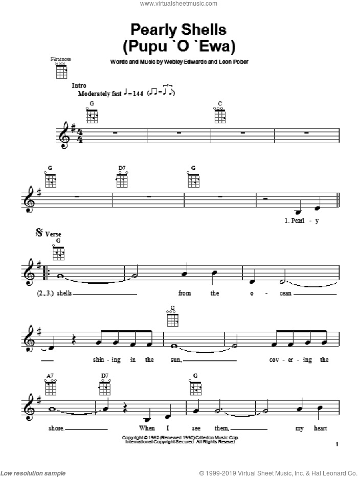 Pearly Shells (Pupu O Ewa) sheet music for ukulele by Don Ho, Leon Pober and Webley Edwards, intermediate skill level