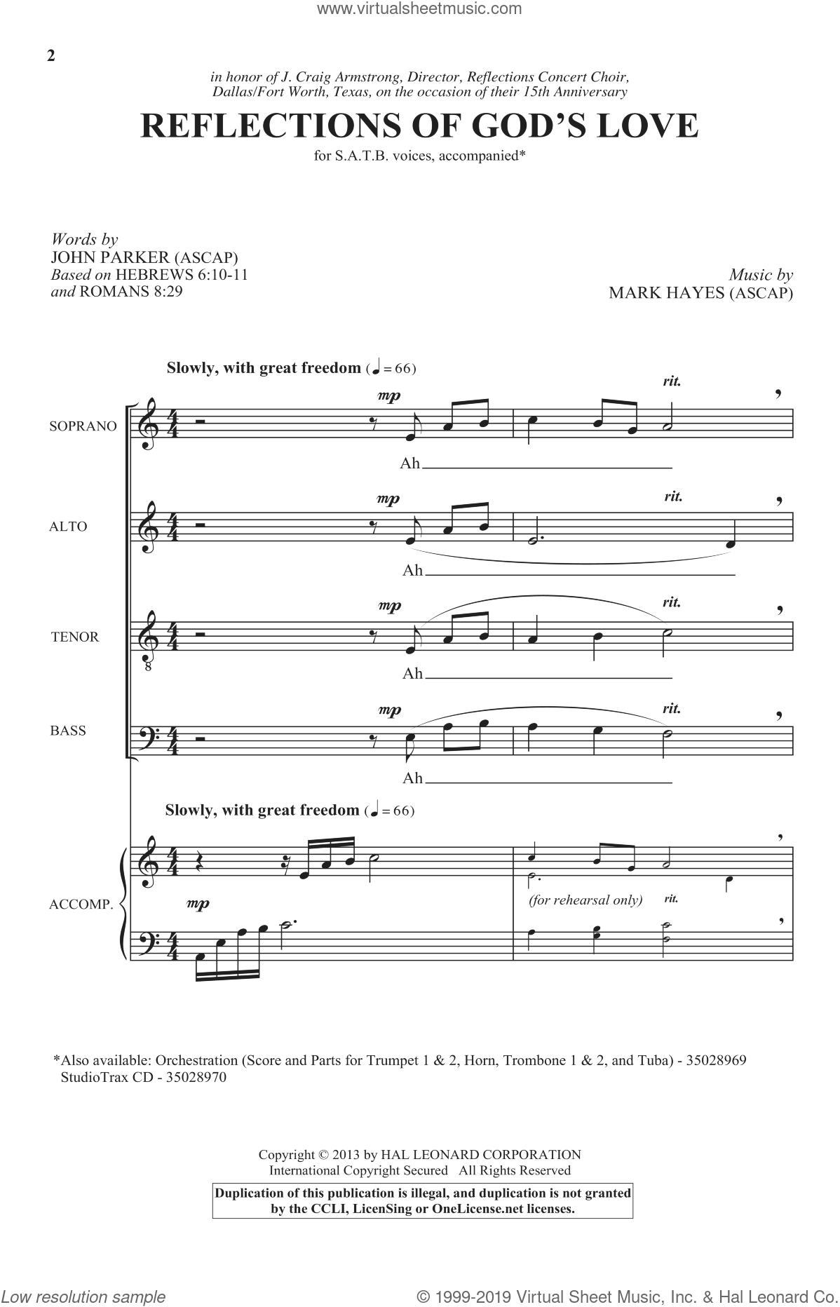 Reflections Of God's Love sheet music for choir (SATB) by Mark Hayes and John Parker. Score Image Preview.