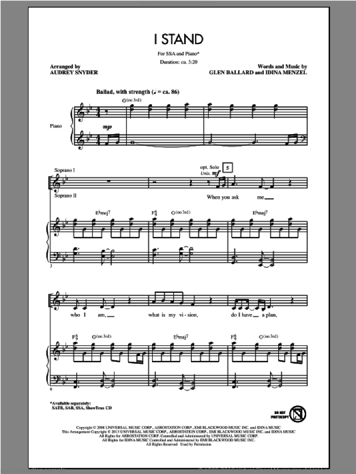 I Stand sheet music for choir and piano (SSA) by Audrey Snyder. Score Image Preview.