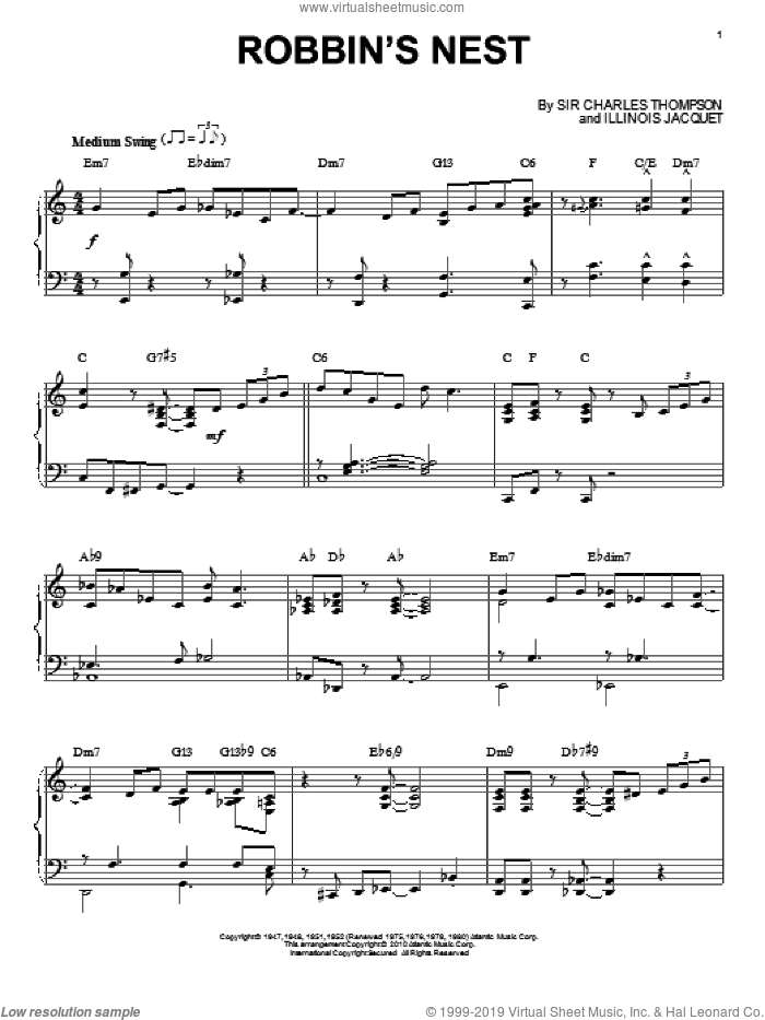 Robbin's Nest sheet music for piano solo by Illinois Jacquet and Sir Charles Thompson, intermediate skill level