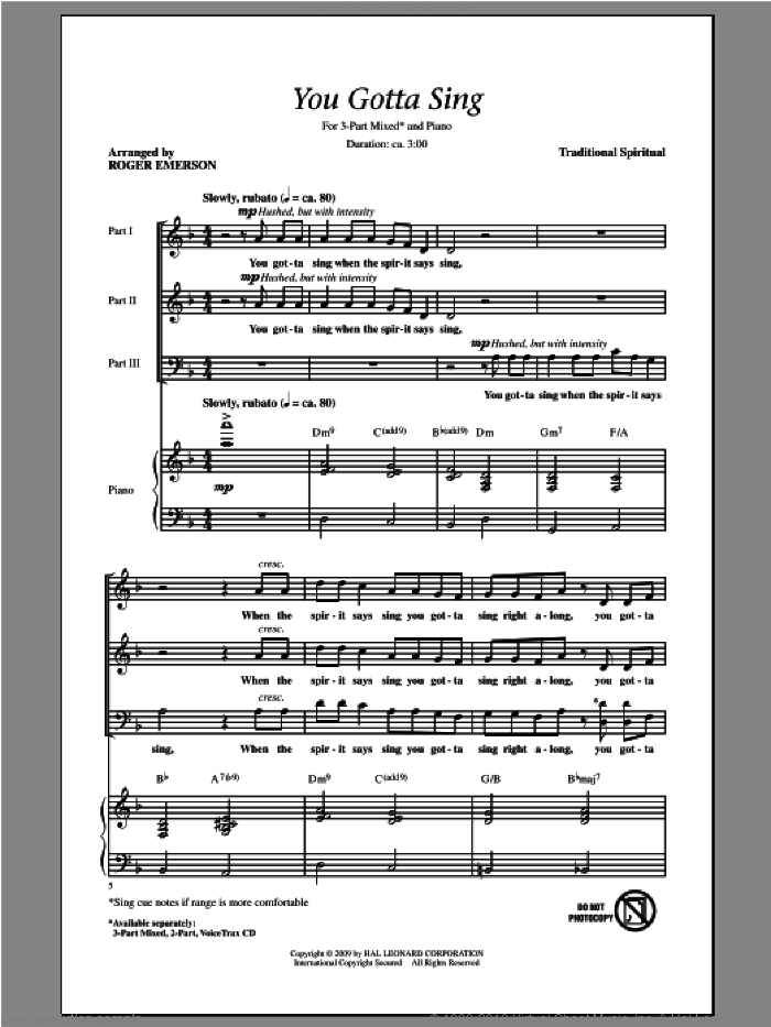 You Gotta Sing sheet music for choir and piano (chamber ensemble) by Roger Emerson