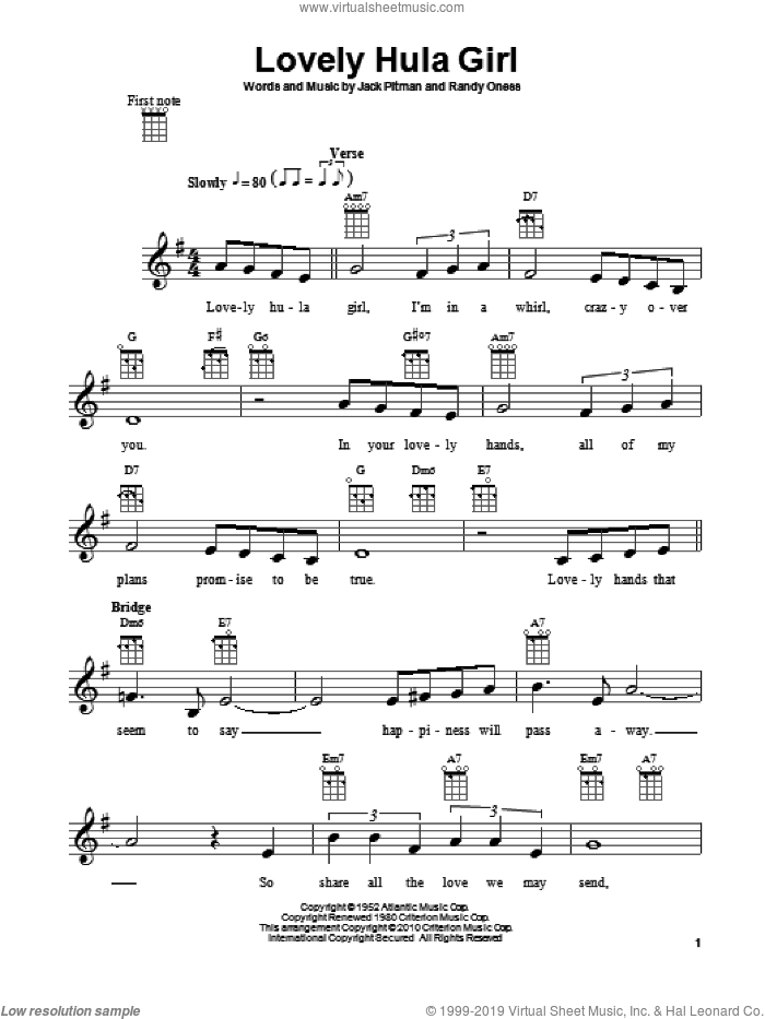 Lovely Hula Girl sheet music for ukulele by Jack Pitman and Randy Oness, intermediate ukulele. Score Image Preview.