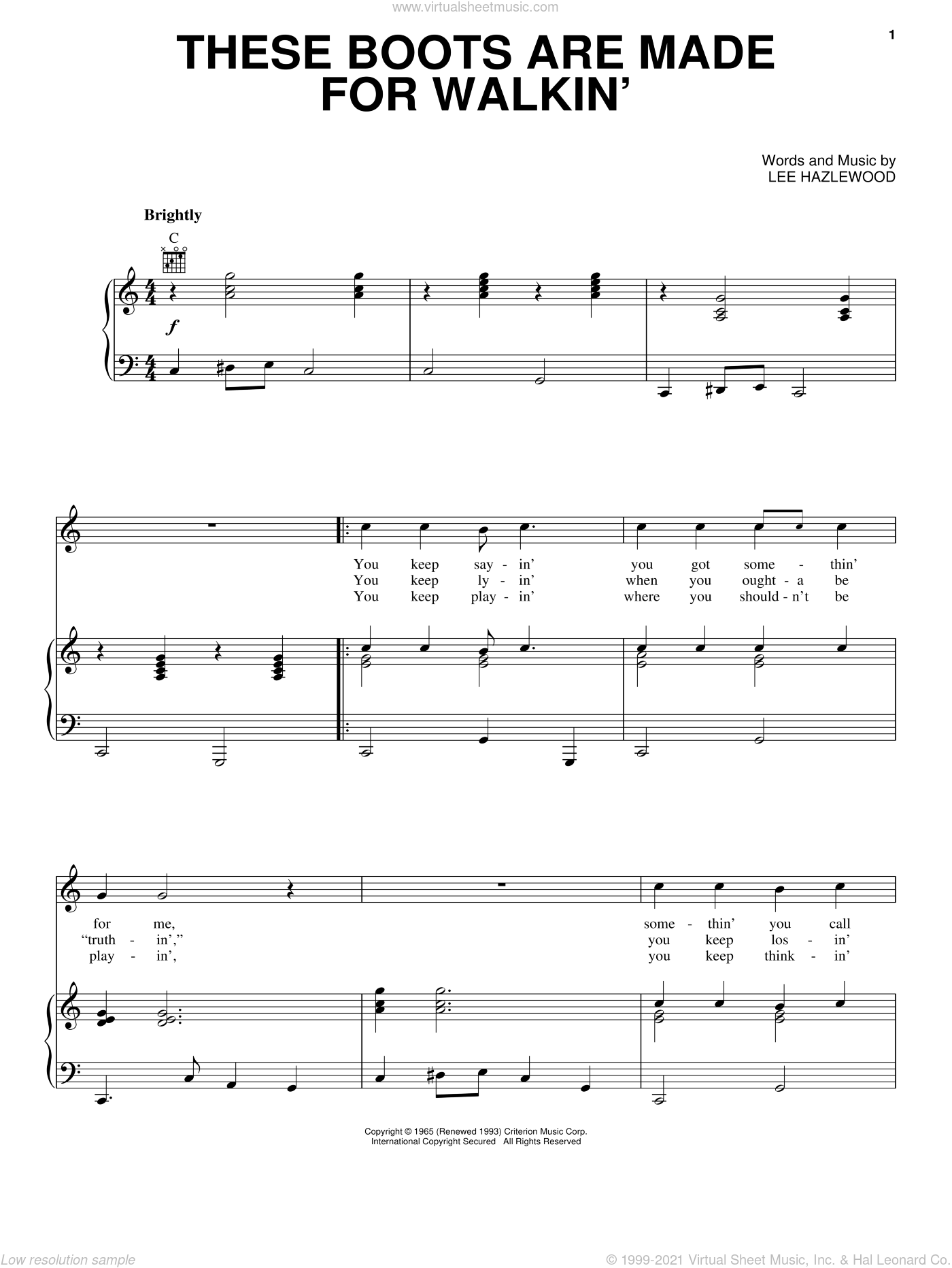 These Boots Are Made For Walkin' sheet music for voice, piano or guitar by Nancy Sinatra and Lee Hazlewood, intermediate skill level