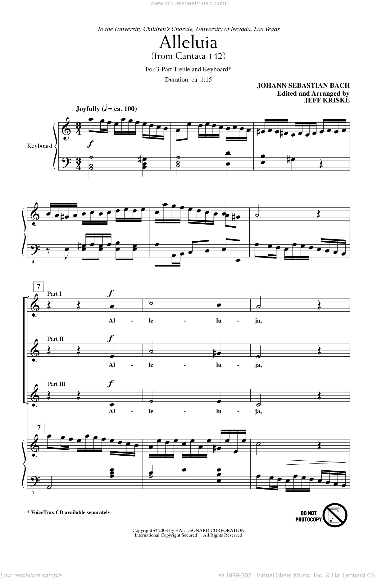 Alleluia From Cantata 142 sheet music for choir and piano (chamber ensemble) by Johann Sebastian Bach