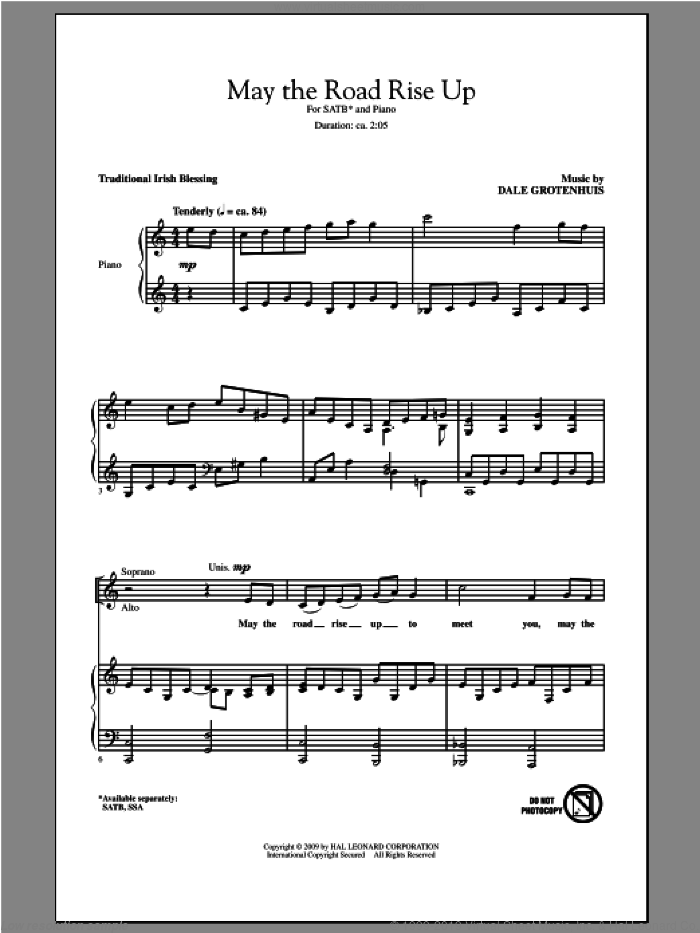May The Road Rise Up sheet music for choir and piano (SATB) by Dale Grotenhuis. Score Image Preview.