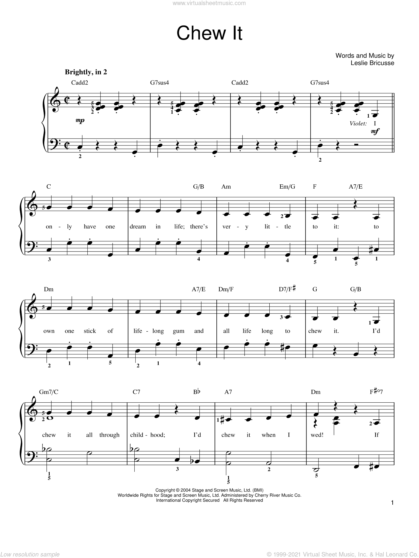 Chew It sheet music for piano solo by Willy Wonka and Leslie Bricusse, easy skill level