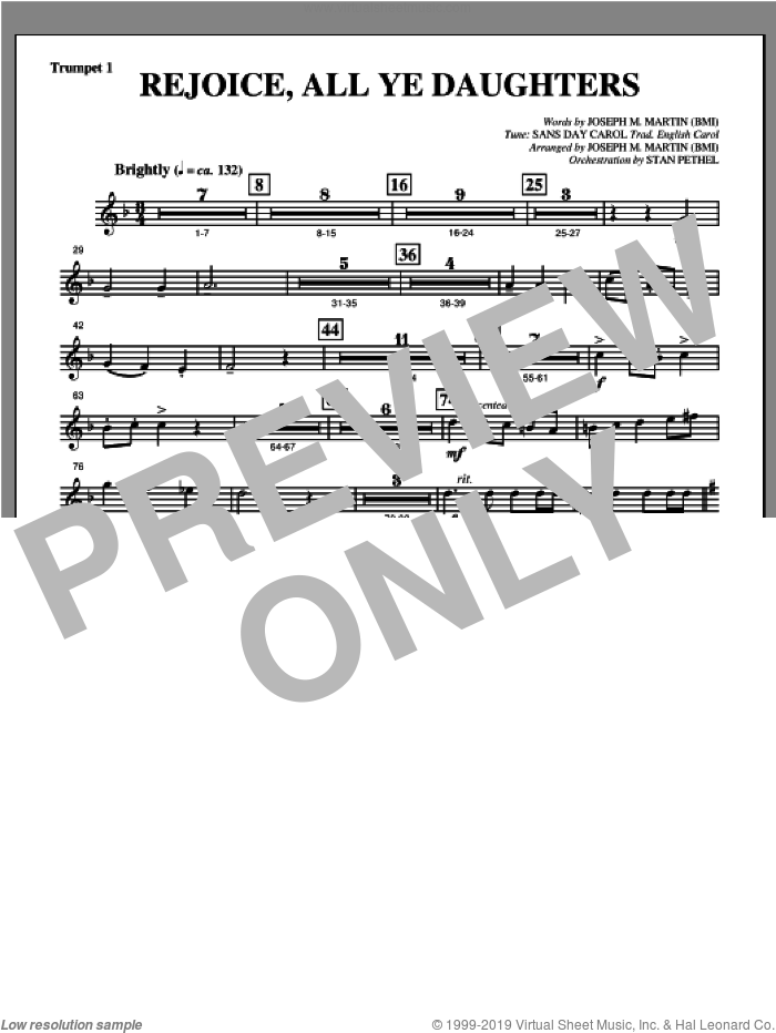 Rejoice, All Ye Daughters (from 'season Of Wonders') sheet music for orchestra/band (Bb trumpet 1) by Joseph M. Martin, intermediate
