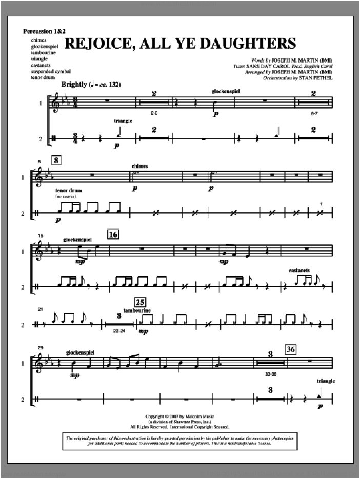 Rejoice, All Ye Daughters (from 'season Of Wonders') sheet music for orchestra/band (percussion 1 and 2) by Joseph M. Martin, intermediate skill level