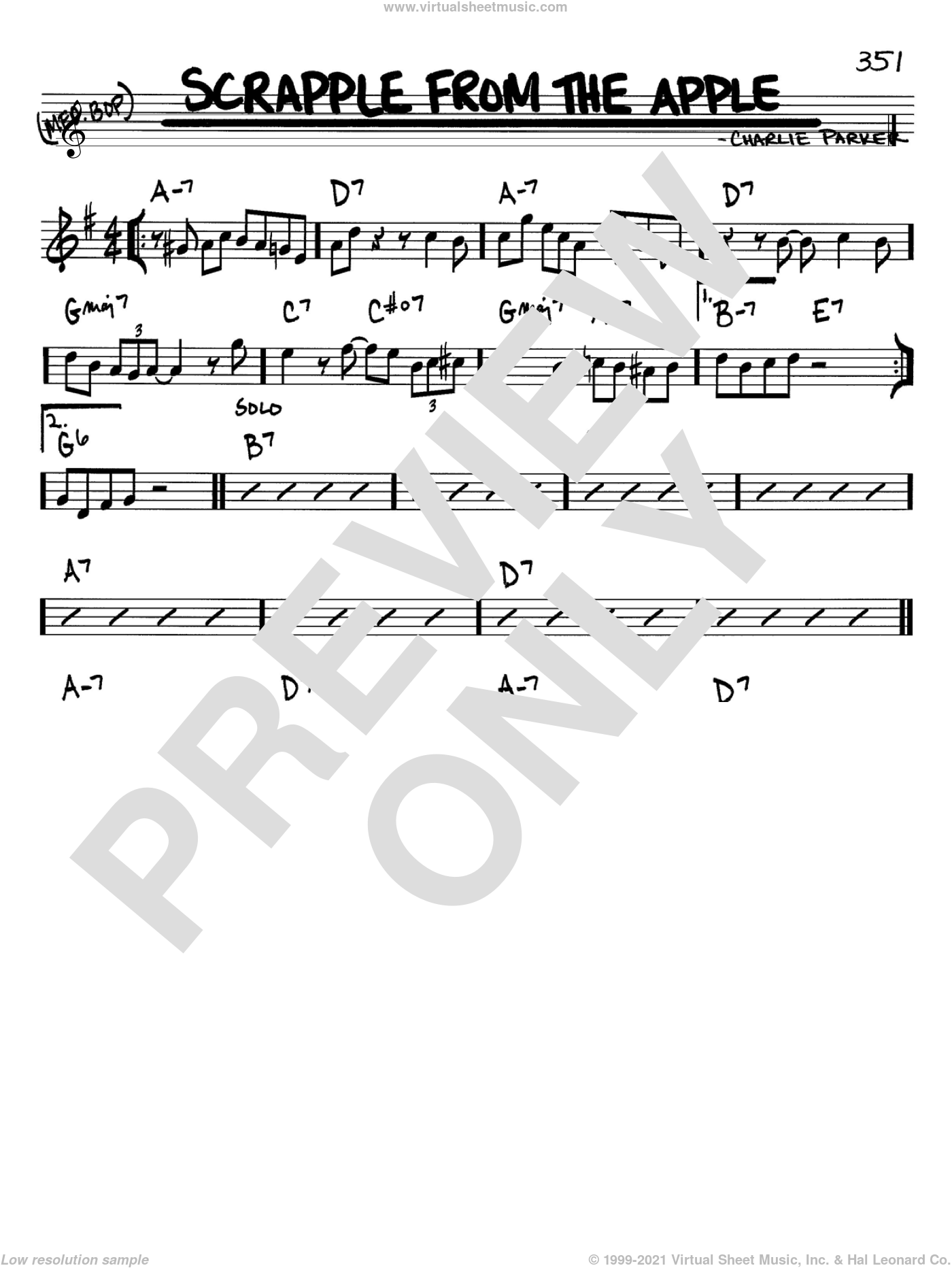 Scrapple From The Apple sheet music for voice and other instruments (Bb) by Charlie Parker. Score Image Preview.