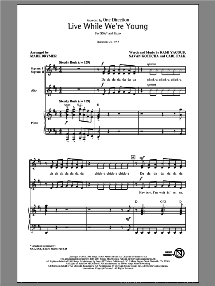Live While We're Young sheet music for choir (SSA: soprano, alto) by Mark Brymer and One Direction, intermediate
