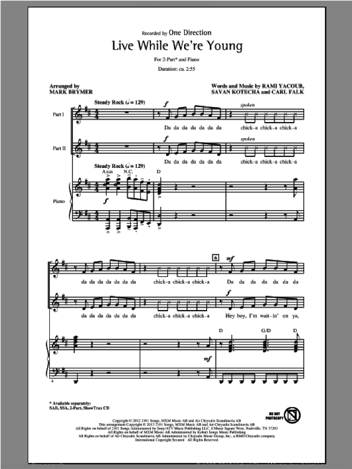 Live While We're Young sheet music for choir (2-Part) by Mark Brymer and One Direction, intermediate duet