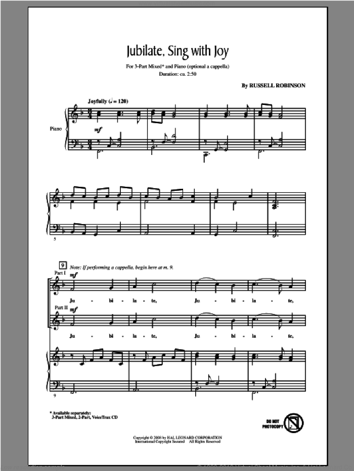 Jubilate, Sing With Joy sheet music for choir (3-Part Mixed) by Russell Robinson, intermediate skill level