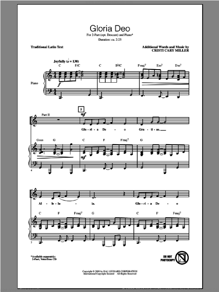 Gloria Deo sheet music for choir and piano (chamber ensemble) by Cristi Cary Miller