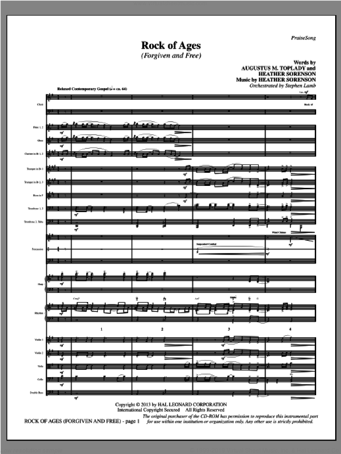 Rock of Ages (Forgiven and Free) (COMPLETE) sheet music for orchestra/band by Heather Sorenson, intermediate skill level