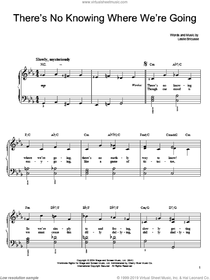 There's No Knowing Where We're Going sheet music for piano solo (chords) by Willy Wonka