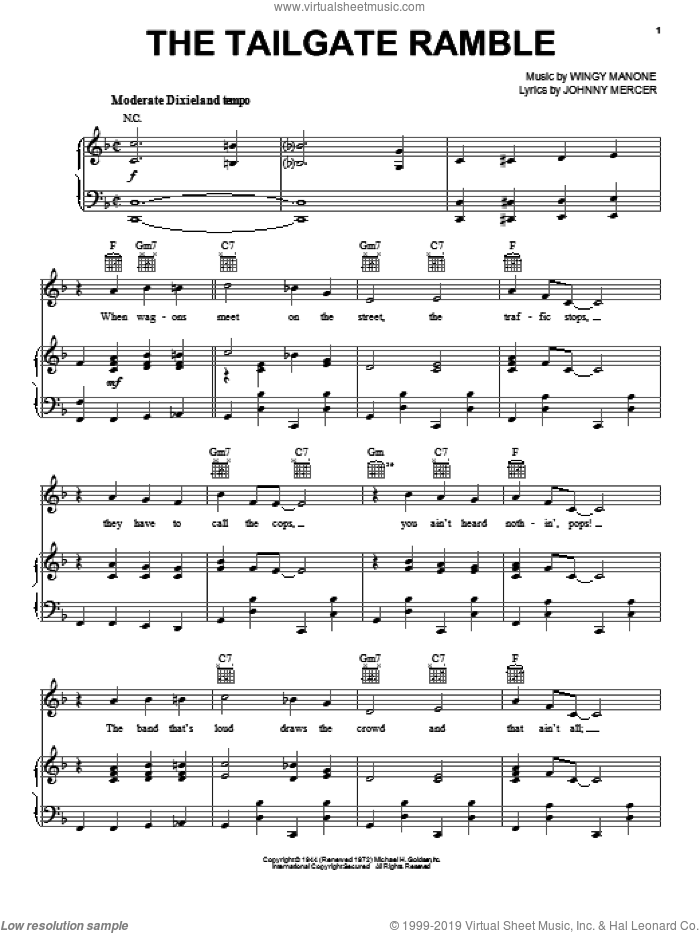 The Tailgate Ramble sheet music for voice, piano or guitar by Johnny Mercer. Score Image Preview.