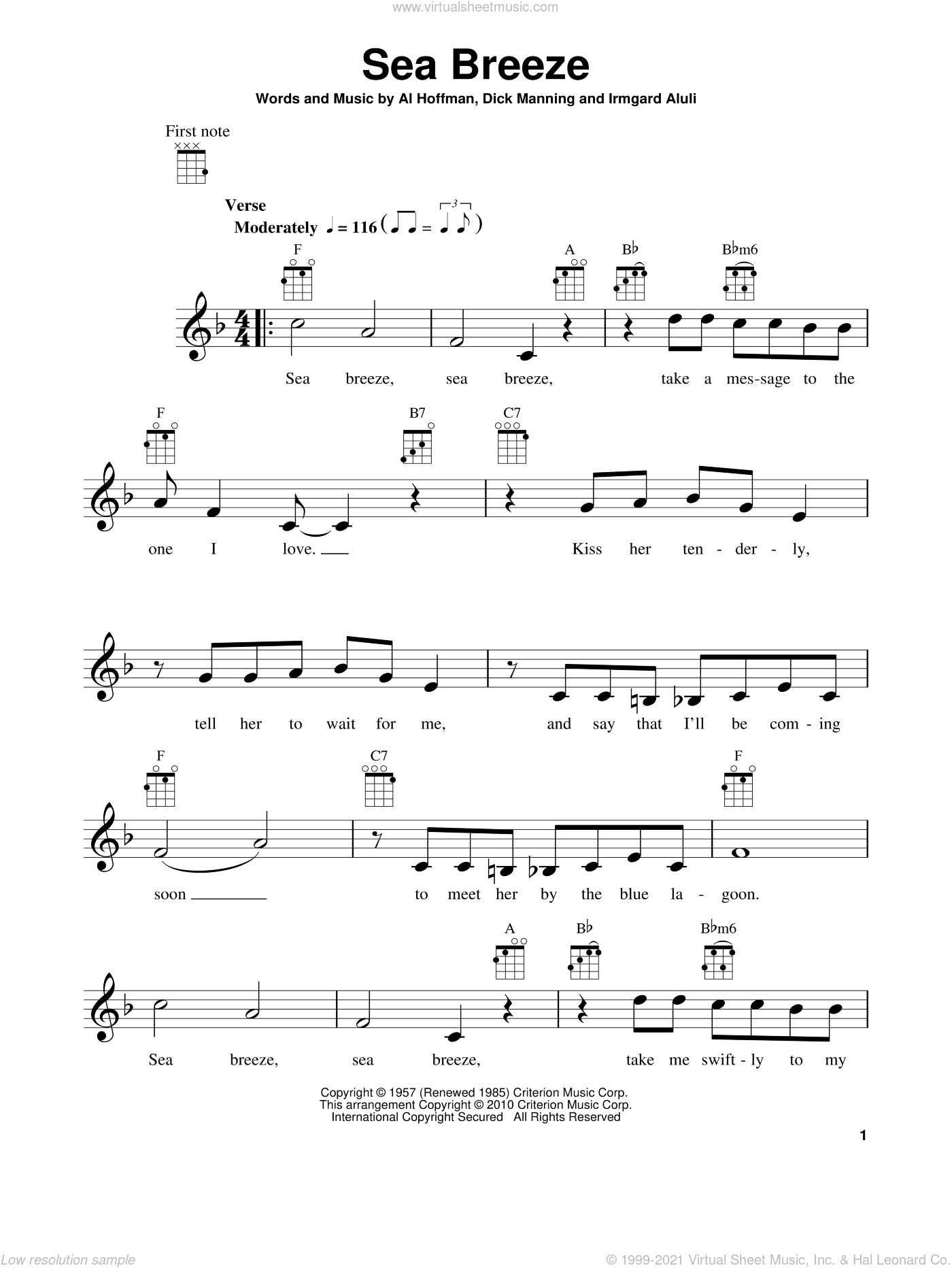 Sea Breeze sheet music for ukulele by Irmgard Aluli, Al Hoffman and Dick Manning. Score Image Preview.