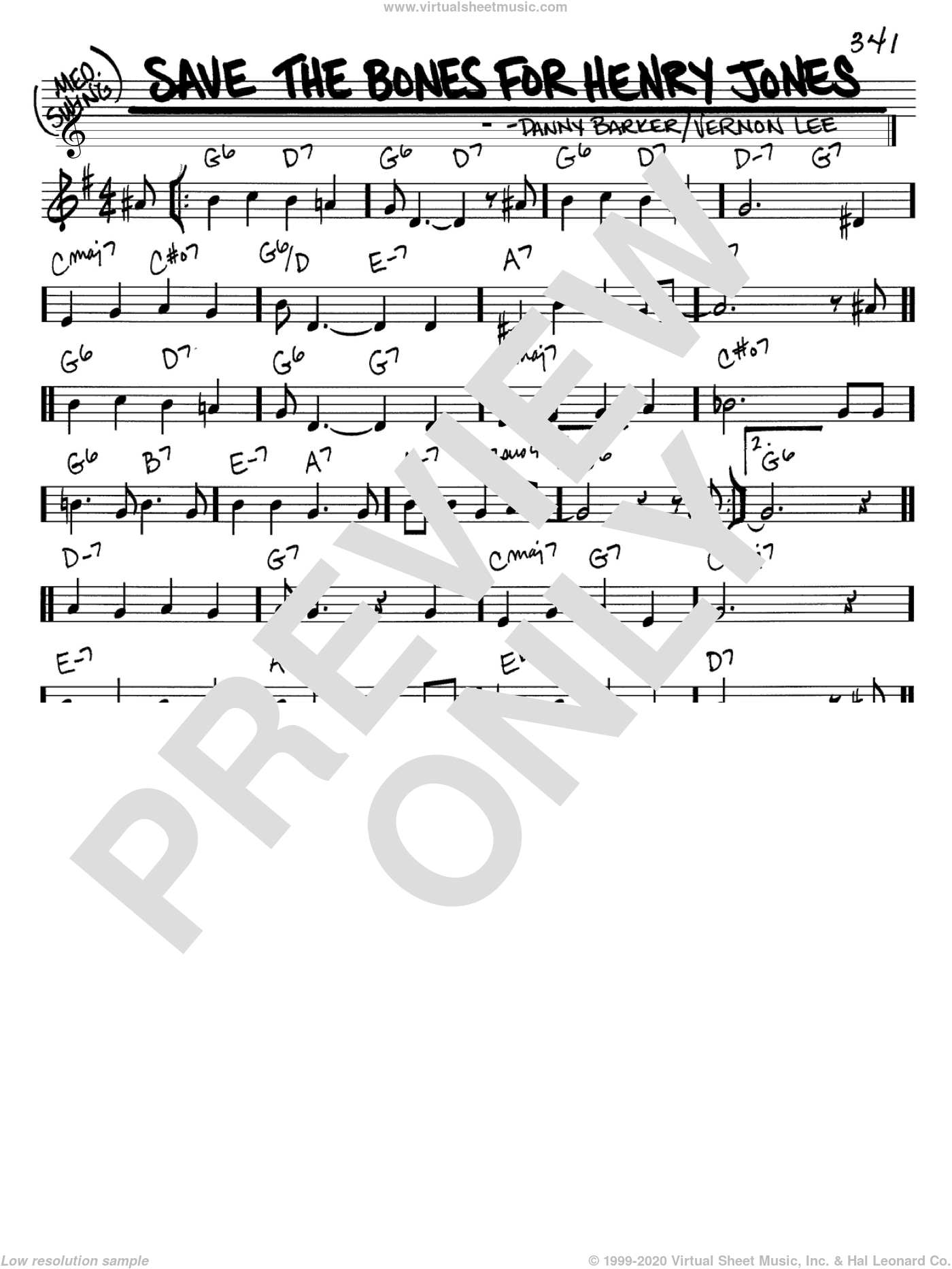 Save The Bones For Henry Jones sheet music for voice and other instruments (C) by Danny Barker
