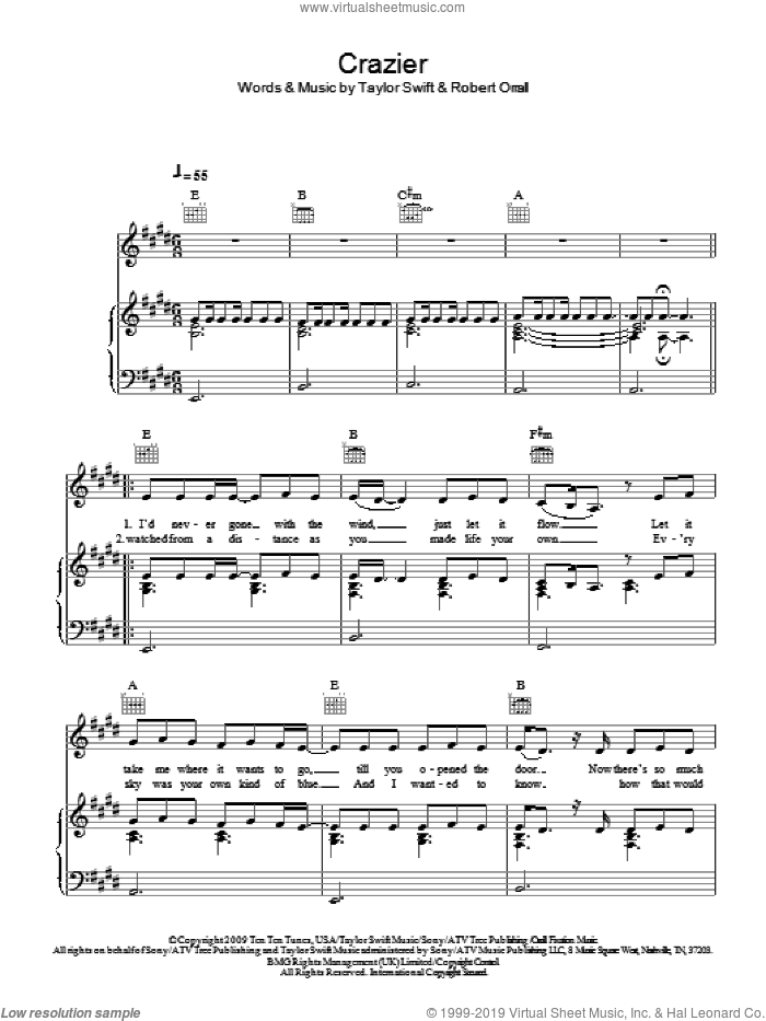 Crazier sheet music for voice, piano or guitar by Taylor Swift and Robert Orrall, intermediate. Score Image Preview.