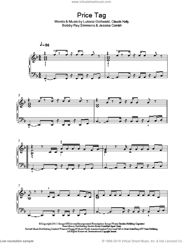 Price Tag sheet music for piano solo by Jessie J, Bobby Ray Simmons, Claude Kelly, Jessica Cornish and Lukasz Gottwald. Score Image Preview.